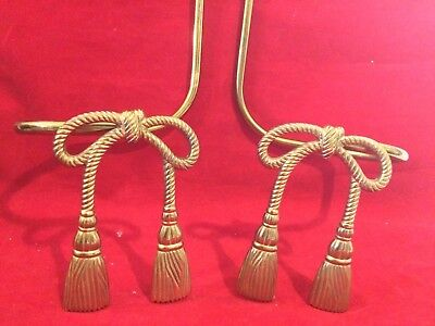 Vintage Solid Brass  Bows Tassel Decorative Curtain Tie Backs