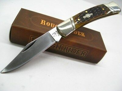 ROUGH RIDER Amber Jigged Bone Straight LOCKBACK Folding Pocket Knife RR081 New!