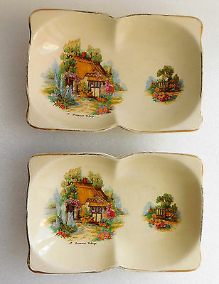 "Two vintage Beswick trays Somerset Cottage pattern shallow double bowls 7.5"" x5"""