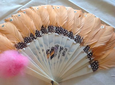Vintage collectible ladies hand fan celluloid and orange quill feathers 18 stays