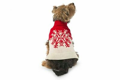 Ancol Christmas Xmas Red Snowflake Dog Puppy Sweater Warm Jumper Festive Gift