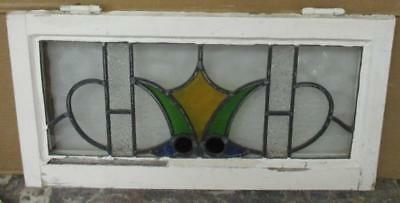 """MID SIZED OLD ENGLISH LEADED STAINED GLASS WINDOW Intricate Abstract 25"""" x 13"""""""