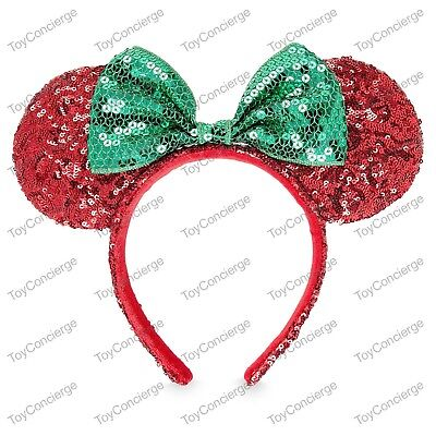 DISNEY Parks EAR HEADBAND Adult CHRISTMAS Holiday RED GREEN Sequin MINNIE NWT