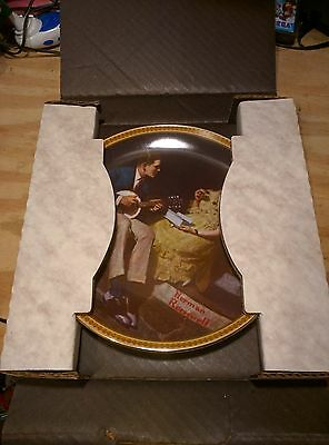 norman rockwell  pondering on the porch collector plates