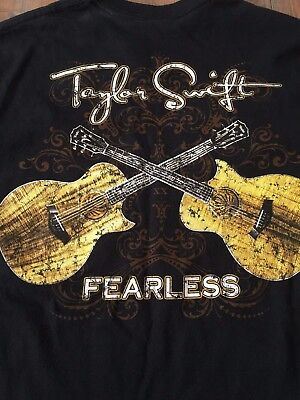 "Taylor Swift ""fearless"" Black Concert T-Shirt W/ 2 Sided Guitar On Back Sz: Med"