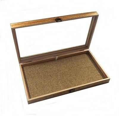 Oak Stained Wood Glass Top Burlap Pad Display Box Case Medals Jewelry Knife
