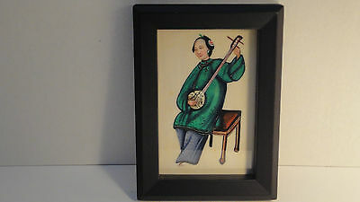 Antique Chinese Original Pith Painting Circa 1840 Of Beautiful Lady Musician