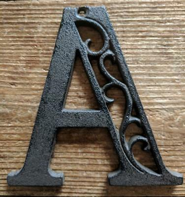 Cast Iron LETTER A Scroll Rustic Brown Metal Alphabet Signs Vintage/Rustic Style