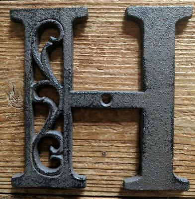 Cast Iron LETTER H Scroll Rustic Brown Metal Alphabet Signs Vintage/Rustic Style