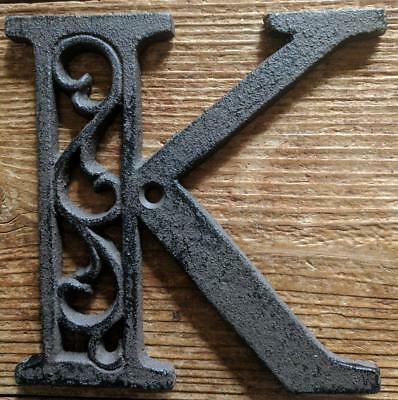 Cast Iron LETTER K Scroll Rustic Brown Metal Alphabet Signs Vintage/Rustic Style