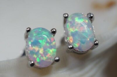 1 Pair Cute White Fire Opal 925 Silver Stud Earrings for Women Wedding Jewelry