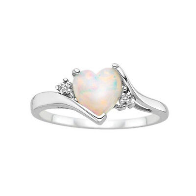 Women Jewelry Heart 2Ct Fire Opal 925 Silver Ring Engagement Wedding Size 6-10