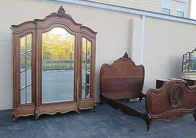 57728 French Bedroom Set  Bed, Wardrobe, Dresser with mirror and 2 nightstands