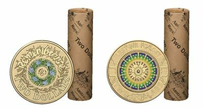 Set Of 2 2017 $2 Coloured Coin Rolls Anzac Lest We Forget & Remembrance Ram