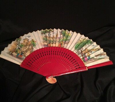 Vintage Red Lacquer Fan Nice
