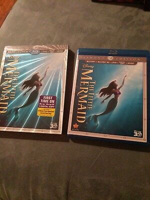 Like New - The Little Mermaid Diamond Edition Blu-ray 3D/Blu-ray/DVD 3-Disc Set