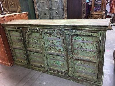 Antique Hand Carved Huge Vanity Chest Green Sideboards Console Buffet Storage