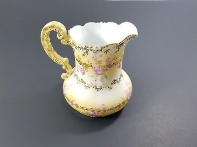 Vintage Rare Imperial Vienna Austria Yellow Rose & Gold Decorated Ornate Pitcher