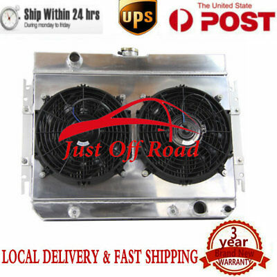 3ROW Alloy Radiator+ Shroud + Fan for Chevy Chevelle / Bel-Air/Biscayne 60-67 65
