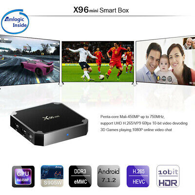 X96mini Smart Android 7.1.2 TV Box S905W Quad Core H.265 WiFi HD Multimédia New