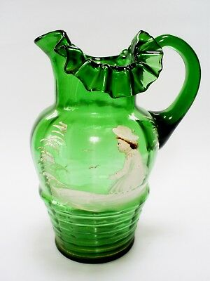 Antique Victorian Mary Gregory Style Green Ribbed Art Glass Jug/vase/pitcher