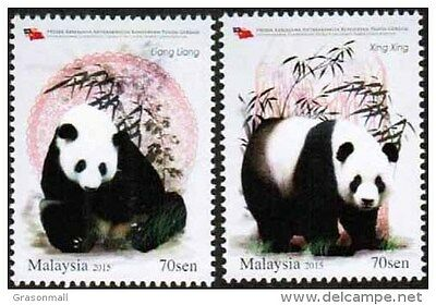 Malaysia 2015 Int'l Co-operative Projects on Giant Panda Conservation set MNH