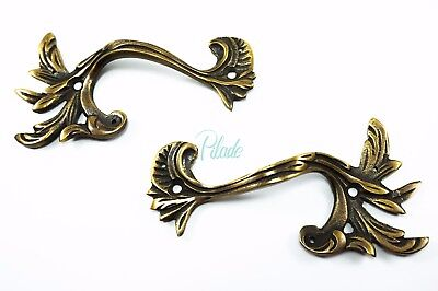 2 x Antique Vintage Look Handle Handles Drawer Pull Box Pulls Cabinet Brass