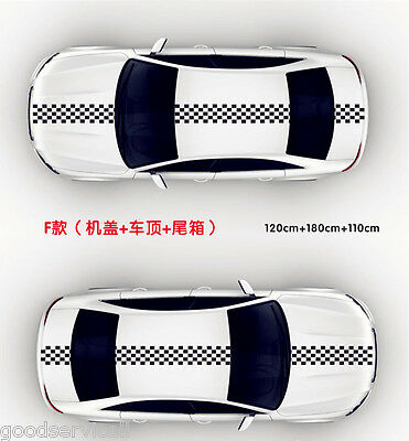 Car Auto Hood Scratched Stickers Black & White Checkered Racing Chequered Flag