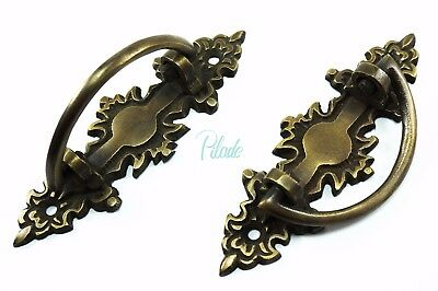2 x Antique Vintage Victorian Handle Handles Drawer Pull Pulls Cabinet Brass