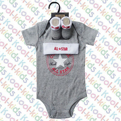 Converse Baby Boys Grey Vest, Hat & Booties On A  Hanger - 0-6 Months -