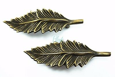 2 x Antique Vintage Look Handle Leaf Art Drawer Pull Box Pulls Cabinet Brass