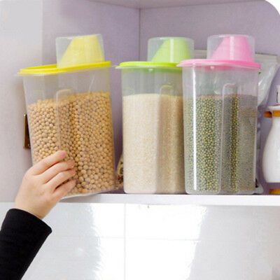 1.9L/2.5L Plastic Cereal Dispenser Storage Box Kitchen Food Grain Rice Container