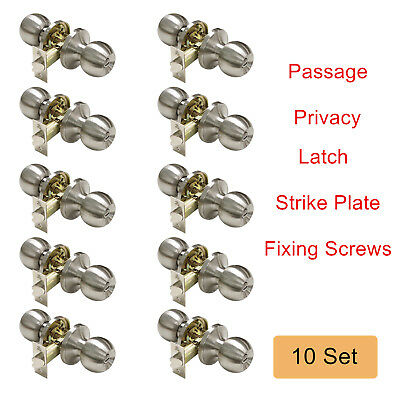 10 Sets Privacy/Passage Round Door Knobs Brushed Nickel Backset 60/70mm Keyless