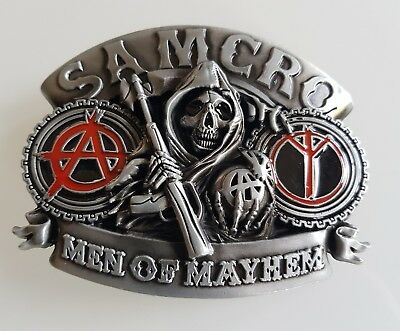 Boucle de ceinture Sons of Anarchy Samcro MEN OF MAYHEM tête de mort - biker d0f8ebd2c65