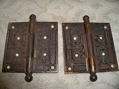 Vintage 4x4 PAIR ORNATE  MATCHING BRASS~BRONZE DOOR HINGES~VICTORIAN