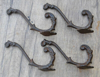 VINTAGE Salvage Victorian Iron Coat Hat robe hanger library School House HOOKS