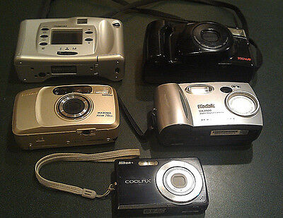 Vintage Camera Lot - Olympus, Samsung, Poloroid, and Nikon Coolpix S200