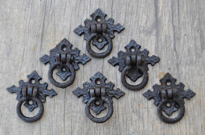 Vintage Victorian Cast Iron drop Drawer Dresser Pull handle Twisted Rope 6Pcs