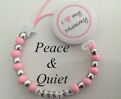 Personalised Wooden Dummy Clip💗i love My Mummy💗Dummy Chain💗pink💗girl💗 #BWP