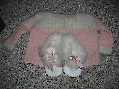 Vintage  Knit Baby Toddler Infant PINK  Sweater and Booties Angora Wool ? Mohair