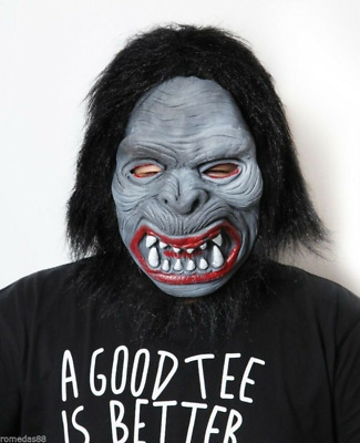 White Hair Green Face Ugly Witch Ghost Costume Halloween Party Mask