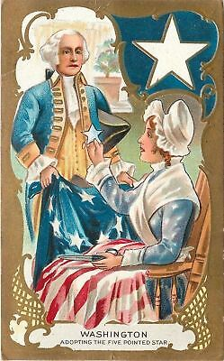 Patriotic~Washington & Betsy Ross~Adopting the Five Point Star~Gold Art Nouveau
