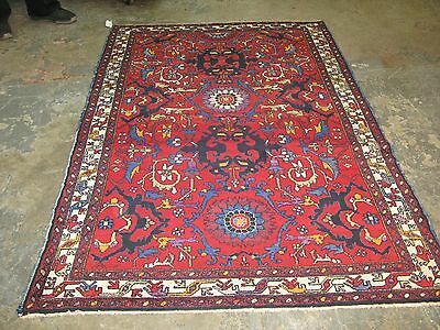 Semi-Antique Vintage Persian Tafresh Malayer Hand Knotted Wool Rug 4'4 x 6'6