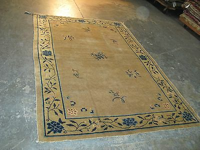 7'-6 x 5' Beautiful Old Antique Chinese Pekin Art Deco Hand Knotted Wool Rug
