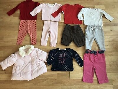 Bundle baby girls outfits age 3-6 months including pink next coat