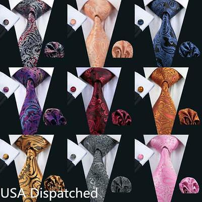 USA Classic Mens Tie Black Red Blue Gold Silk Paisley Neck Tie Set Woven Wedding