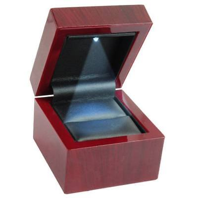 1 New Cherry Wood LED Lighted Ring Jewelry Display Gift Box