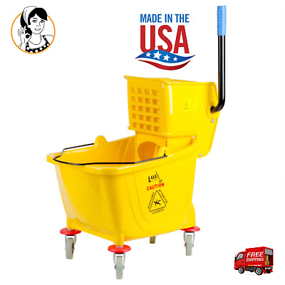 36 Qt Lavex Commercial Heavy-duty Wet Mop Bucket Wringer Combo Janitorial Yellow