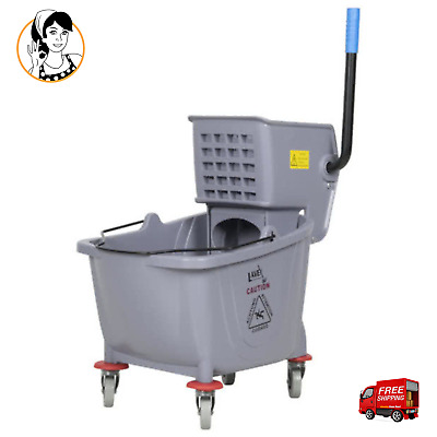 36 Qt Lavex Commercial Heavy-duty Wet Mop Bucket Wringer Combo, Janitorial Grey
