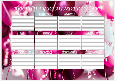 Birthday Reminder Chart A4 Laminated Free Drywipe Pen